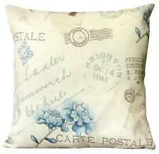 """Large Cushions+ Covers set of 4 filled shabby chic vintage 21""""x 21"""" Cream blue"""