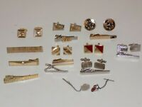 Vintage Mens Jewelry Collection Cufflinks Tie Tacks Clips Clasps