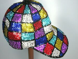 Sequined Ball Cap Multi-Colored Hand Crafted Black Cotton Lined Womens M / L New