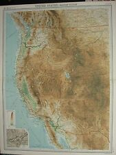 1920 LARGE MAP ~ UNITED STATES WESTERN SECTION CALIFORNIA NEVADA YOSEMITE VALLEY