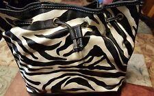Black / White Zebra Print Bucket HandBag Purse