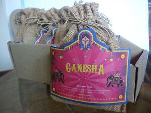 20 CONI INCENSO GANESHA aroma india QUALITA' DELUXE + PORTAINCENSO e SACCHETTO