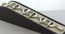 """Sterling Silver 925 Mexico TV-102 Onyx Inlay Puffy Triangle Link Bracelet - 7"""""""