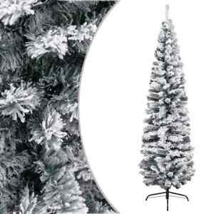 Slim Artificial Christmas Tree with Flocked Snow Green 210 cm PVC