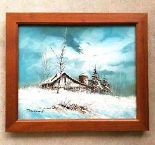 Farm Silo Winter Landscape Vintage Original Oil Canvas Painting Signed BANGMAN