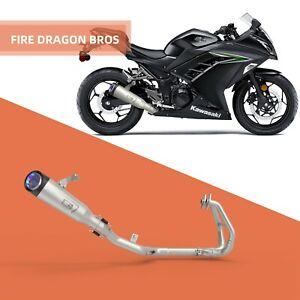 wetoto Universal Motorcycle Slip on Exhaust System with Muffler Compatible with Kawasaki Ninja 250 Ninja 300 2008-2017