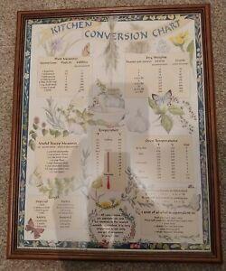 Vintage Kitchen Conversion Chart Framed Picture Anne Wild Design