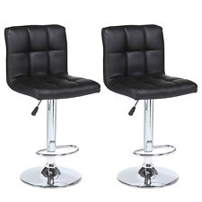 Modern Design Set of 2 Bar Stools Leather Adjustable Swivel Pub Chair In Black