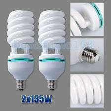 2X 135W 5500K E27 Fotolampe Lampe Spiral Tageslicht Energiesparlampen DE