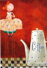 GIRL WITH RED HAIR LOVES COFFEE! Modern Russian postcard