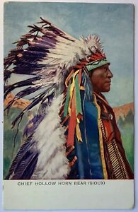Chief Hollow Horn Bear Sioux Feather Head Dress Bone Valentines Artotype Series
