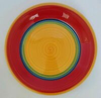 """Royal Norfolk MAMBO Bright Primary Striped 10 3/4"""" Dinner Plate EUC"""