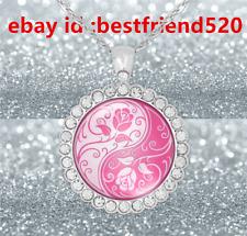 Fashion Jewelry 925 Silver Rhinestone Pink Yin Yang Rose Cabochon Necklace