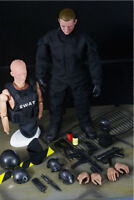 1/6 SWAT Black Uniform Military Army Suit Clothes Soldier Figure Body Doll