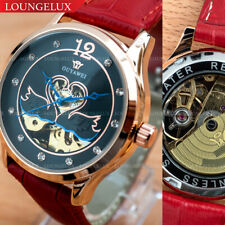 Women Flywheel Leather Quality Luxury Bling Skeleton Automatic Mechanical Watch