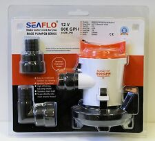 SEAFLO 12v 800GPH Cartridge Side Mount Submersible Bilge Pump 4 Year Warranty!