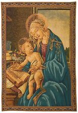 MADONNA DEL LIBRO 68CM X 50CM LINED BELGIAN TAPESTRY WALL HANGING, ROD SLEEVE