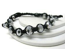 H13 Acrylic Bead Fabric Cord BRACELET Metallic Gray