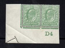 Ed VII - 1/2d green Control D4 pair with perforation error. Fine mint.