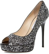 AUTHENTIC NIB JIMMY CHOO CROWN SILVER BLACK COARSE GLITTER HEELS SHOES PUMP 10.5