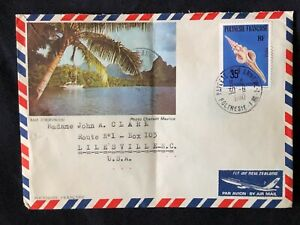 Stamped addressed Envelope w colorful pics of Bay Cook 1980 French Polynesia