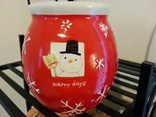 BRIGHT RED Hallmark Merry Days Ceramic Jar Canister Holiday Winter Christmas
