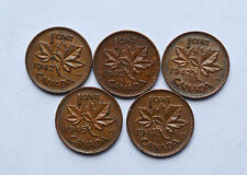 1942,1945, 1947 CANADA 1 CENT 5 COINS KM32