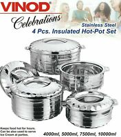 4pc Set - Stainless Steel Cold Hot Pot Food Insulated Casserole Double Wall
