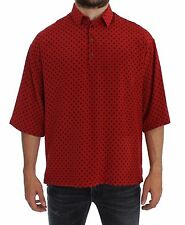 NEW $680 DOLCE & GABBANA Red Black Polka Silk Polo T-shirt Top  EU44 /US34/ XS