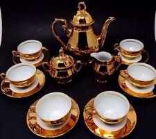 Vintage JKW Bavaria Germany Porcelain Josef Kuba Gold Gilt Tea Pot Set 6 Cup