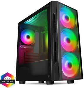 CiT Flash ARGB PC Gaming Case, M-ATX, 4 x 120mm ARGB Rainbow Fans Included