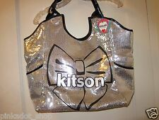KITSON Sequin Bling Bow Tote Shopper Bag Silver Black NWT
