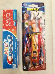 Firefly Superman Boys 3-Pack Toothbrushes Red With Kid's Crest Sparkle Fun Paste