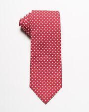"""Isaia Napoli NWT Red White Polka Dot Silk Cotton Blend 7 Fold Tie 3.25"""""""