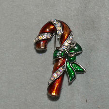 Christmas Jewelry Pin Enamel Rhinestones Red Green Silver Tone Candy Cane