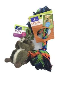 TOP PAW Toy Bundle- Realistic Squirrel w/ 2 squeakers & Rope Toy w/ Ring NWT
