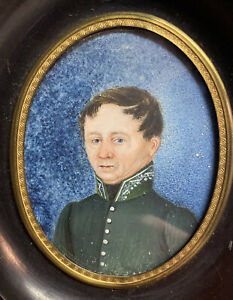 Antique 19th Century Miniature Portrait Oil Painting Military Soldier Officer