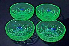 LOT 4 Hazel Atlas Green Diamond Arch Depression VASELINE 4.25 Glass Fruit Bowls