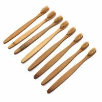 8pcs Bambus Zahnbürste Natur Bambus Holz Zahnreinigung mit weichen Borsten Neu