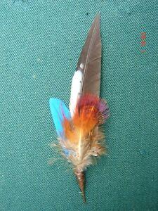 kleine Hutfeder m blau Hutschmuck bunte Feder ca 9cm für Herrenhut  Art 23-2