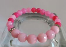 Frosted Pink Agate Faceted Pink Jade Gemstone Bracelet Yoga Jewellery Stacking