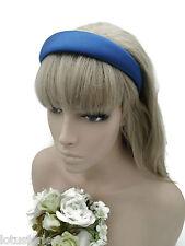 3 cm Wide Blue Satin Alice Band Headband Hair Band Lightly Padded