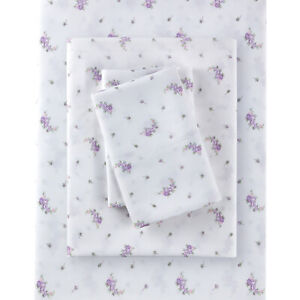 Rachel Simply Shabby Chic White Lavender Floral Sheet Set POLYESTER - King