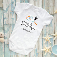 Personalised pregnancy baby announcement baby vest grow body suit stork stalk