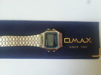 OMAX MEN WOMEN LCD Digital Chronograph Silver Tone Metal  Watch Retro style