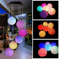 Solar Powered Wind Chime Ball Lamp Garden Hanging Changing Color LED Light HOT