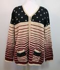 CJ BANKS Patriotic Flag Cardigan Sweater Sz 1X - Hand Embroidered