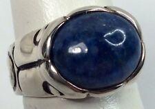 Espo Sterling Black Enamel Lapis Stone Ladies Ring Size 6 (c263)