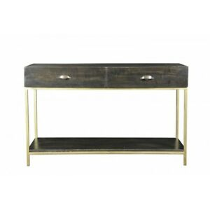 """48"""" L Helen Console Table Hand Crafted Solid Mango Wood on Gold Iron Frame"""
