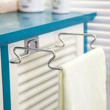 1X Over Door Towel Holder Rack Rail Cupboard Hanger Bar Hook Bathroom Kitchen T9